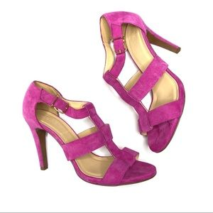 J CREW Suede Leather Olympia Pumps Heels Fuchsia 7